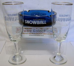 Snowball Ashtray & 6 Glasses
